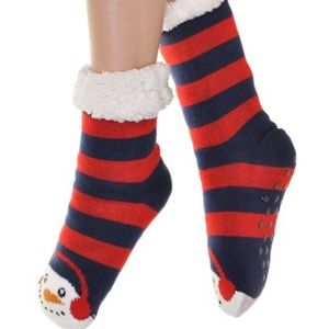 Angelina Sherpa Lined Snowman Slipper Socks